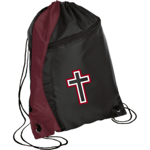 CustomCat Drawstring Bag Black/Maroon / One Size Red & White Cross With Transparent Interior BG80 Colorblock Cinch Pack (5 Variants)
