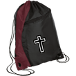 Load image into Gallery viewer, CustomCat Drawstring Bag Black/Maroon / One Size White Cross BG80 Colorblock Cinch Pack (5 Variants)