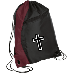 CustomCat Drawstring Bag Black/Maroon / One Size White Cross BG80 Colorblock Cinch Pack (5 Variants)