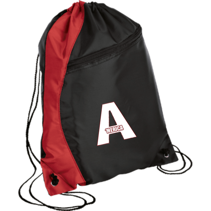 CustomCat Drawstring Bag Black/Red / One Size A'MERICA BG80 Colorblock Cinch Pack (5 Variants)