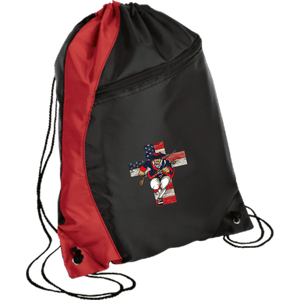 CustomCat Drawstring Bag Black/Red / One Size American Patriots for God and Country Patriot Cross BG80 Colorblock Cinch Pack (5 Variants)