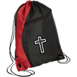 Load image into Gallery viewer, CustomCat Drawstring Bag Black/Red / One Size Black & White Cross BG80 Colorblock Cinch Pack (5 Variants)