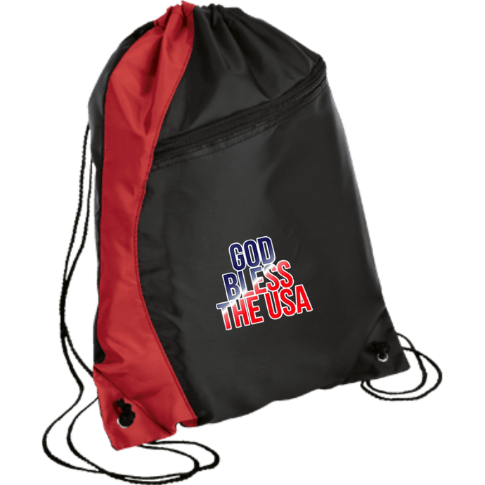 CustomCat Drawstring Bag Black/Red / One Size God Bless The USA BG80 Colorblock Cinch Pack (5 Variants)