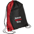 Load image into Gallery viewer, CustomCat Drawstring Bag Black/Red / One Size Jesus Loves You BG80 Colorblock Cinch Pack (5 Variants)