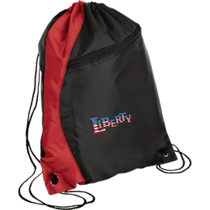 CustomCat Drawstring Bag Black/Red / One Size LIBERTY BG80 Colorblock Cinch Pack (5 Variants)