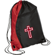 Load image into Gallery viewer, CustomCat Drawstring Bag Black/Red / One Size Red & White Cross BG80 Colorblock Cinch Pack (5 Variants)