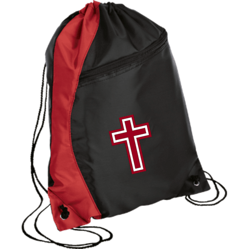 CustomCat Drawstring Bag Black/Red / One Size Red & White Cross BG80 Colorblock Cinch Pack (5 Variants)