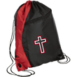 Load image into Gallery viewer, CustomCat Drawstring Bag Black/Red / One Size Red & White Cross With Transparent Interior BG80 Colorblock Cinch Pack (5 Variants)