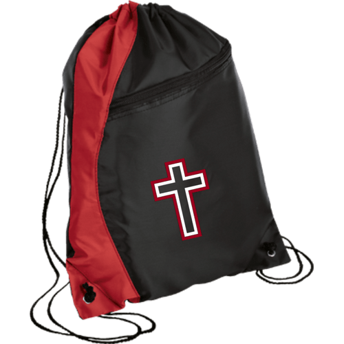 CustomCat Drawstring Bag Black/Red / One Size Red & White Cross With Transparent Interior BG80 Colorblock Cinch Pack (5 Variants)