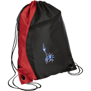 CustomCat Drawstring Bag Black/Red / One Size Statue of Liberty BG80 Colorblock Cinch Pack (5 Variants)