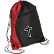 Load image into Gallery viewer, CustomCat Drawstring Bag Black/Red / One Size White Cross BG80 Colorblock Cinch Pack (5 Variants)