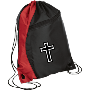 CustomCat Drawstring Bag Black/Red / One Size White Cross BG80 Colorblock Cinch Pack (5 Variants)