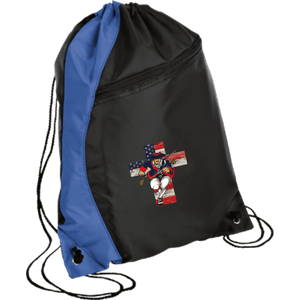 CustomCat Drawstring Bag Black/Royal / One Size American Patriots for God and Country Patriot Cross BG80 Colorblock Cinch Pack (5 Variants)