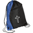 Load image into Gallery viewer, CustomCat Drawstring Bag Black/Royal / One Size Black & White Cross BG80 Colorblock Cinch Pack (5 Variants)