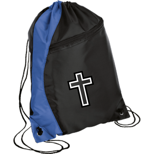 CustomCat Drawstring Bag Black/Royal / One Size Black & White Cross BG80 Colorblock Cinch Pack (5 Variants)