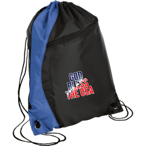 CustomCat Drawstring Bag Black/Royal / One Size God Bless The USA BG80 Colorblock Cinch Pack (5 Variants)