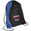 Load image into Gallery viewer, CustomCat Drawstring Bag Black/Royal / One Size Jesus Loves You BG80 Colorblock Cinch Pack (5 Variants)