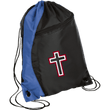 Load image into Gallery viewer, CustomCat Drawstring Bag Black/Royal / One Size Red & White Cross With Transparent Interior BG80 Colorblock Cinch Pack (5 Variants)