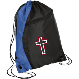 CustomCat Drawstring Bag Black/Royal / One Size Red & White Cross With Transparent Interior BG80 Colorblock Cinch Pack (5 Variants)
