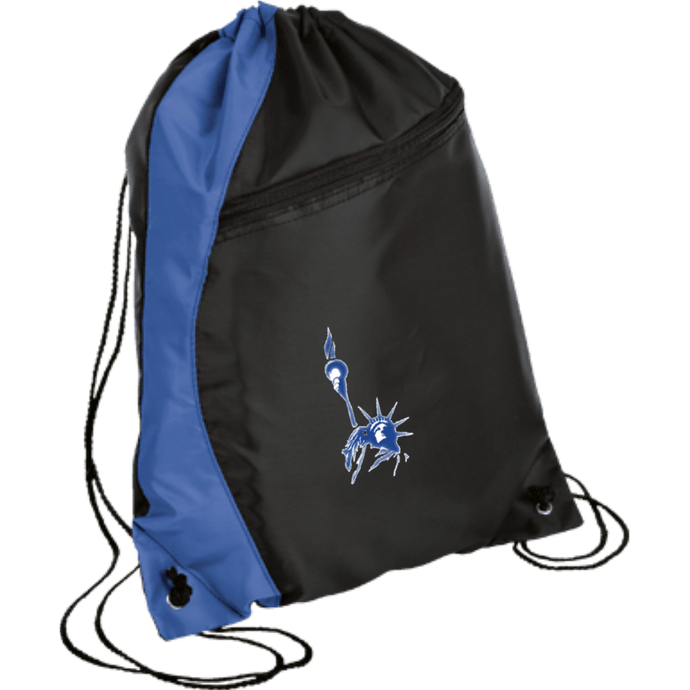 CustomCat Drawstring Bag Black/Royal / One Size Statue of Liberty BG80 Colorblock Cinch Pack (5 Variants)
