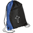 Load image into Gallery viewer, CustomCat Drawstring Bag Black/Royal / One Size White Cross BG80 Colorblock Cinch Pack (5 Variants)