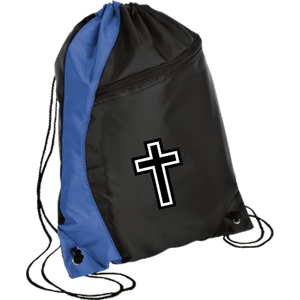 CustomCat Drawstring Bag Black/Royal / One Size White Cross BG80 Colorblock Cinch Pack (5 Variants)