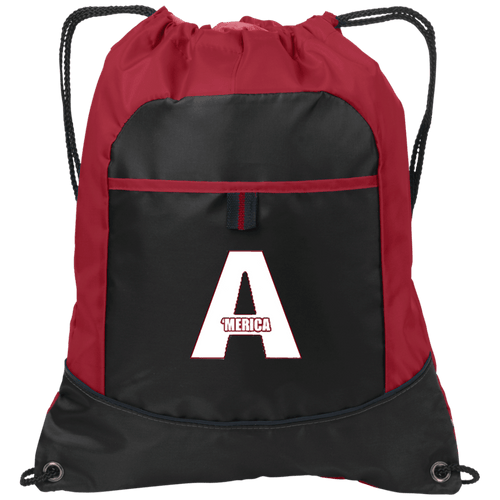CustomCat Drawstring Bag Black/True Red / One Size A'MERICA Port Authority Pocket Cinch Drawstring Pack (4 Variants)