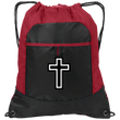 Load image into Gallery viewer, CustomCat Drawstring Bag Black/True Red / One Size Black & White Cross Port Authority Pocket Cinch Drawstring Pack (4 Variants)