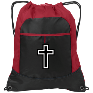 CustomCat Drawstring Bag Black/True Red / One Size Black & White Cross Port Authority Pocket Cinch Drawstring Pack (4 Variants)