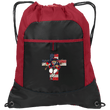Load image into Gallery viewer, CustomCat Drawstring Bag Black/True Red / One Size Charging Patriot Cross Port Authority Pocket Cinch Drawstring Pack (4 Variants)