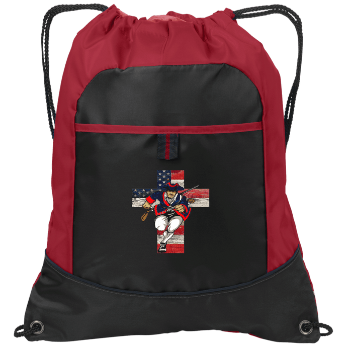 CustomCat Drawstring Bag Black/True Red / One Size Charging Patriot Cross Port Authority Pocket Cinch Drawstring Pack (4 Variants)
