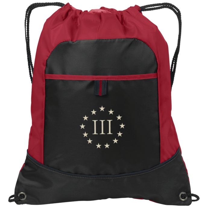 CustomCat Drawstring Bag Black/True Red / One Size III% Port Authority Pocket Cinch Drawstring Pack (4 Variants)