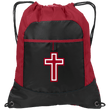 Load image into Gallery viewer, CustomCat Drawstring Bag Black/True Red / One Size Red & White Cross BG611 Pocket Cinch Pack (4 Variants)