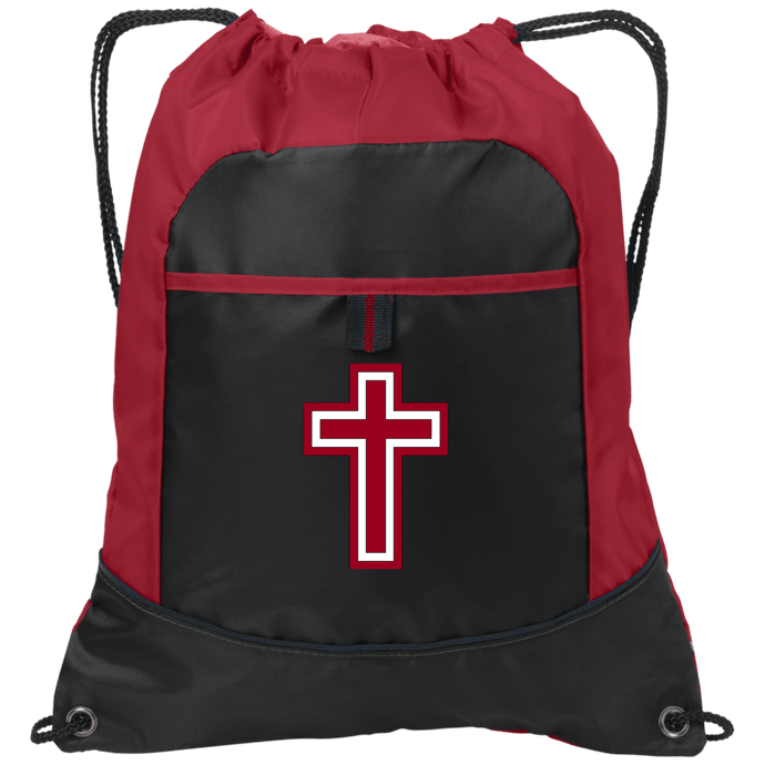 CustomCat Drawstring Bag Black/True Red / One Size Red & White Cross BG611 Pocket Cinch Pack (4 Variants)