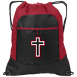 Load image into Gallery viewer, CustomCat Drawstring Bag Black/True Red / One Size Red & White Cross With Transparent Interior BG611 Pocket Cinch Pack (4 Variants)