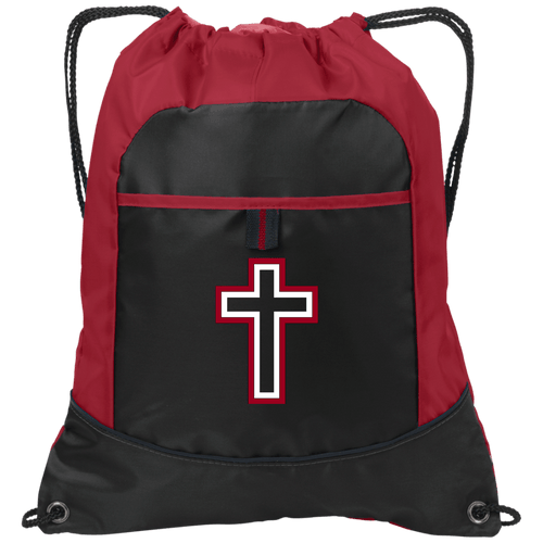 CustomCat Drawstring Bag Black/True Red / One Size Red & White Cross With Transparent Interior BG611 Pocket Cinch Pack (4 Variants)