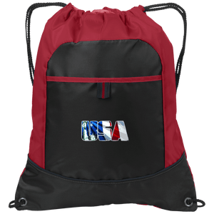 CustomCat Drawstring Bag Black/True Red / One Size USA Statue of Liberty Port Authority Pocket Cinch Drawstring Pack (7 Variants)