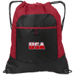 Load image into Gallery viewer, CustomCat Drawstring Bag Black/True Red / One Size White & Red USA Port Authority Pocket Cinch Drawstring Pack (7 Variants)