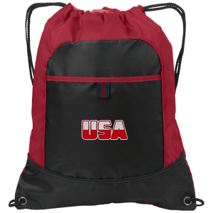 CustomCat Drawstring Bag Black/True Red / One Size White & Red USA Port Authority Pocket Cinch Drawstring Pack (7 Variants)