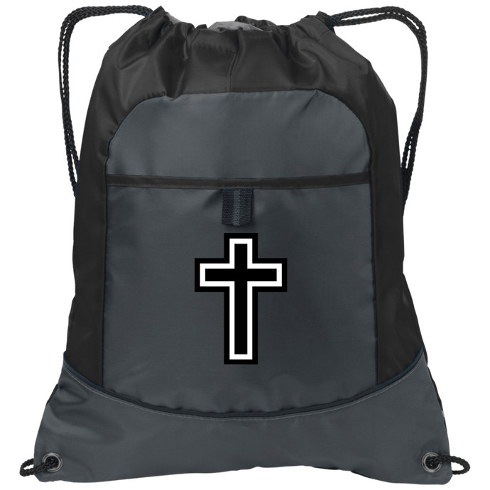 CustomCat Drawstring Bag Deep Smoke/Black / One Size Black & White Cross Port Authority Pocket Cinch Drawstring Pack (4 Variants)
