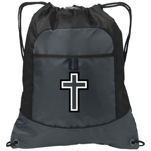 CustomCat Drawstring Bag Deep Smoke/Black / One Size Black & White Cross With Transparent Interior BG611 Pocket Cinch Pack (4 Variants)