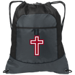 Load image into Gallery viewer, CustomCat Drawstring Bag Deep Smoke/Black / One Size Red & White Cross BG611 Pocket Cinch Pack (4 Variants)