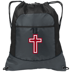 CustomCat Drawstring Bag Deep Smoke/Black / One Size Red & White Cross BG611 Pocket Cinch Pack (4 Variants)