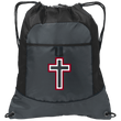 Load image into Gallery viewer, CustomCat Drawstring Bag Deep Smoke/Black / One Size Red & White Cross With Transparent Interior BG611 Pocket Cinch Pack (4 Variants)