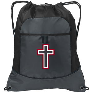 CustomCat Drawstring Bag Deep Smoke/Black / One Size Red & White Cross With Transparent Interior BG611 Pocket Cinch Pack (4 Variants)