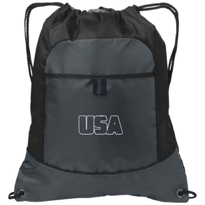 CustomCat Drawstring Bag Deep Smoke/Black / One Size Transparent USA Port Authority Pocket Cinch Drawstring Pack (7 Variants)