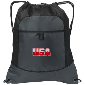 CustomCat Drawstring Bag Deep Smoke/Black / One Size White & Red USA Port Authority Pocket Cinch Drawstring Pack (7 Variants)