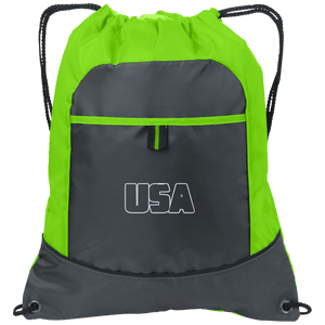 CustomCat Drawstring Bag Deep Smoke/Lime / One Size Transparent USA Port Authority Pocket Cinch Drawstring Pack (7 Variants)