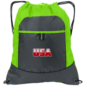 CustomCat Drawstring Bag Deep Smoke/Lime / One Size White & Red USA Port Authority Pocket Cinch Drawstring Pack (7 Variants)