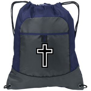 CustomCat Drawstring Bag Deep Smoke/True Navy / One Size Black & White Cross Port Authority Pocket Cinch Drawstring Pack (4 Variants)